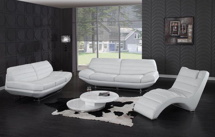 Pisani   Modern White Leather Sofa Set