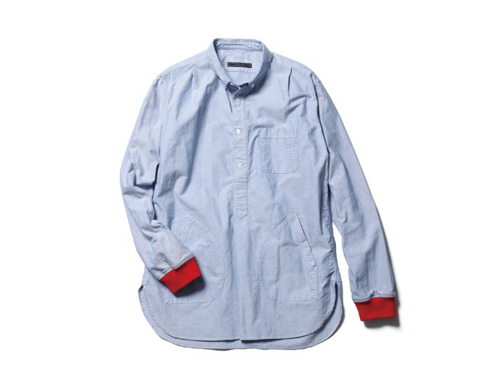 SOPHNET. REGULAR COLLAR RIB LONG SHIRT