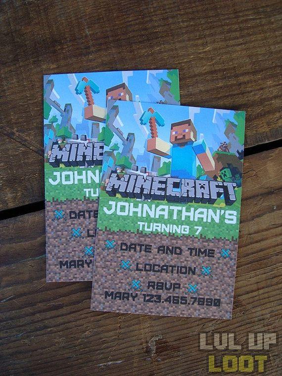 Printable Minecraft Birthday Invitation - Custom  Personalized Minecraft Invitation - DIY Minecraft Party - You Print At Home