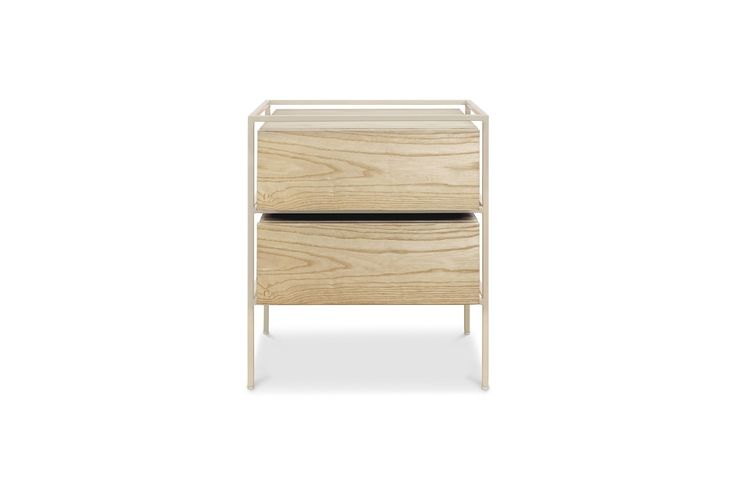 1970TPEASH,Open Frame Nightstand Taupe Frame with Ash Drawers