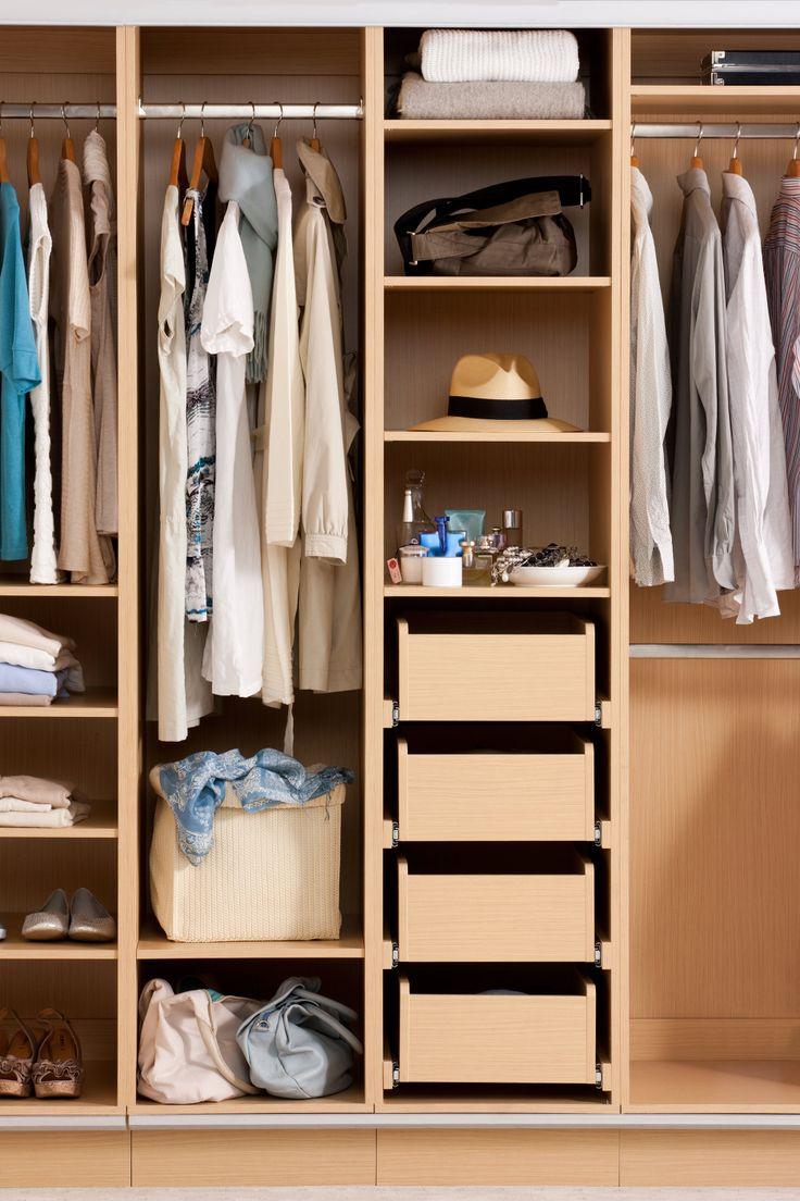 Flatpax Light Oak wardrobe cabinet with shelves, drawers and hanging rails. #wardrobe #wardrobeinterior #flatpackwardrobe #wardrobeshelves #wardrobedrawers #hangingrail