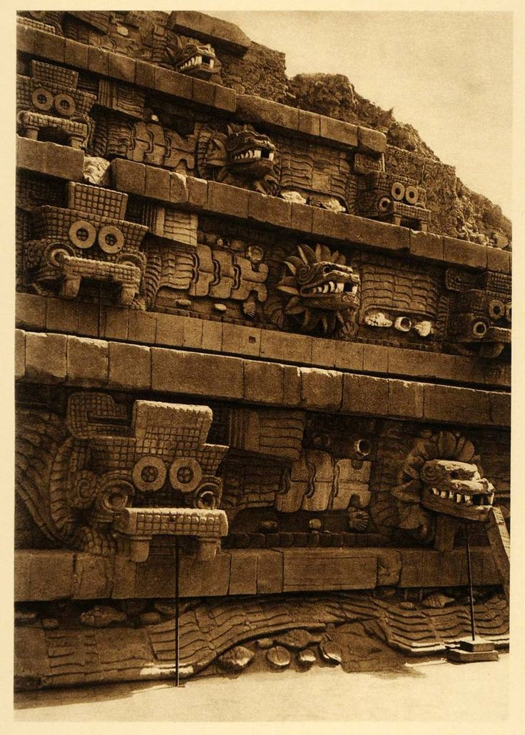 Pyramid of Quetzalcoatl at Teotihuacan, Mexico, 1925