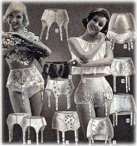 Abbildung aus einem alten Katalog für Damenwäsche, Strumpfhalter und Tanzgürtel in verschiedenen Ausführungen