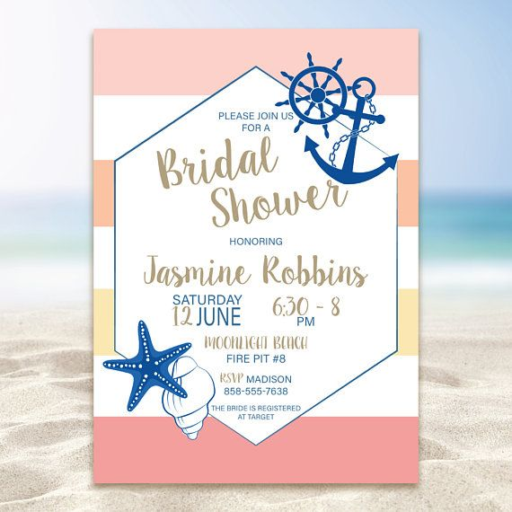 Nautical Beach Bridal Shower Invitation Anchor Invitation Part beach and part nautical. This 5x7 printable invitation will tell invited guests to get ready for a trendy and relaxing time. The colors are completely customizable to your wants so let your beachy dreams take control.  Love the invitation, but want it in a different color? I can customize! Simply purchase the this invitation and in the Notes to Seller add what color you would like it in. Color changes are FREE!