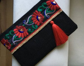 Negro noche de embrague, bolso para mujer, regalo para ella, bolso de embrague, embrague de moda, regalo de Navidad