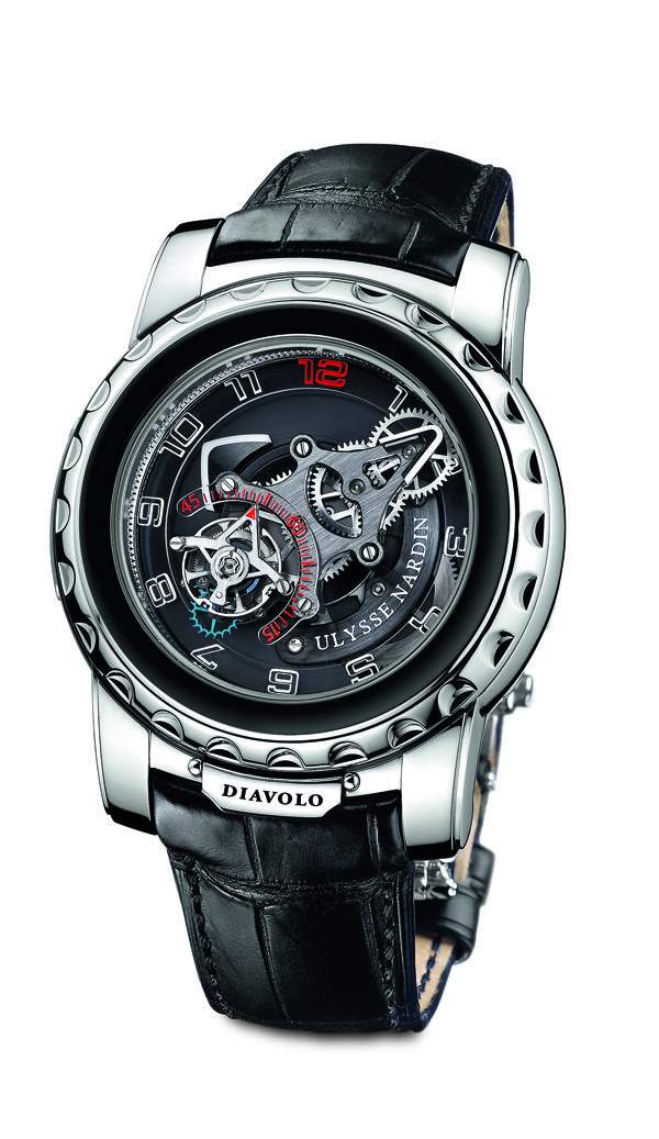 Ulysse Nardin Freak Diavolo. In production for 10 years and still strong, this is unusually whimsical and wild for Ulysse Nardin. USD 153,500.