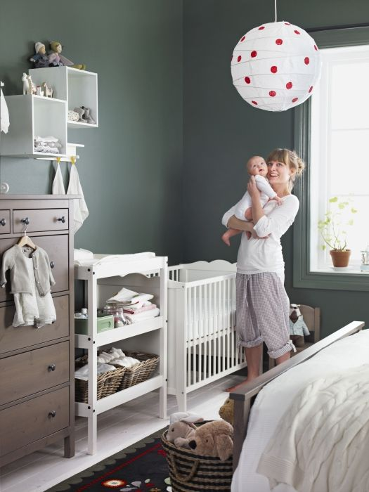 Baby Nursery, Great Way To Create A Shared Nursery Using White Baby  Furniture And A Surprising Wall White Couch Racks Wood Wardrobe Baby Ikea  Nursery ...