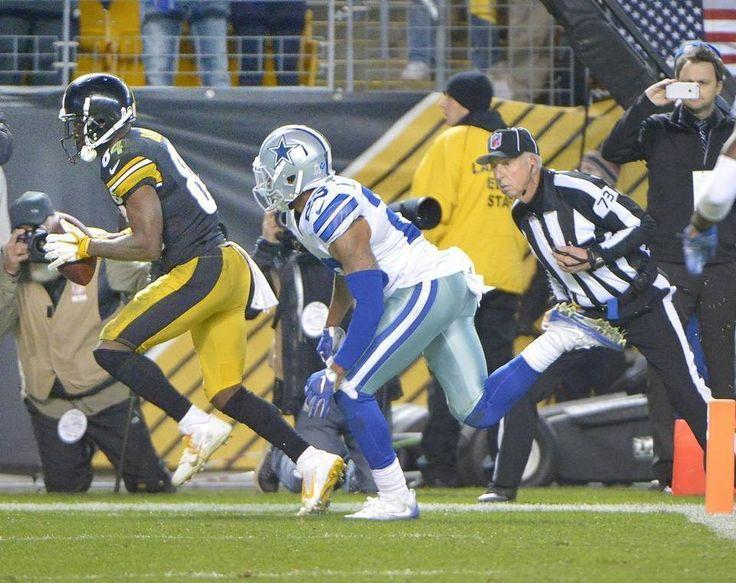 Cowboys vs. Steelers  - 35-30, Cowboys  -  November 13, 2016:  Pittsburgh Steelers wide receiver Antonio Brown (84) scores a fourth quarter touchdown in front of Dallas Cowboys defensive back Leon McFadden (23). Max Faulkner mfaulkner@star-telegram.com