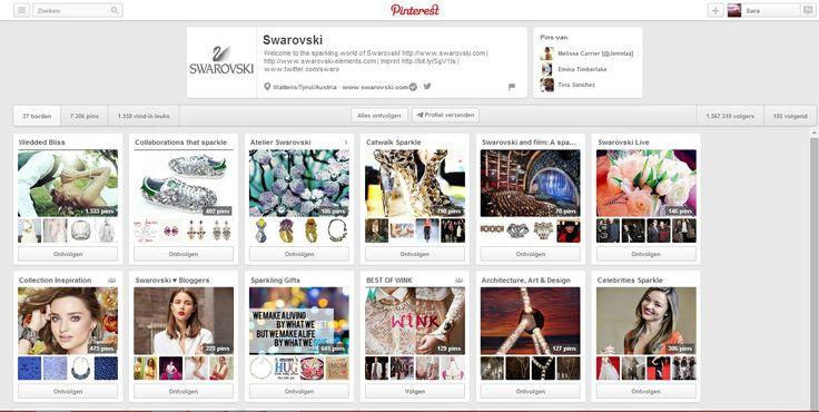 Swarovski is met meer dan 1 miljoen volgers een veel bekeken merk op Pinterest. De reden hiervoor is makkelijk te achterhalen: Swarovski geeft haar volgers alles wat ze moeten weten over het merk in afzonderlijke borden. Wie droeg Swarovski op de catwalk? Welke sterren associëren zich met het merk? Wat is de nieuwe collectie?  Verder geeft het merk ook tips in verband met huwelijksjuwelen, de film waaraan ze werkten.. #multimedia1 bron: http://www.pinterest.com/swarovski/