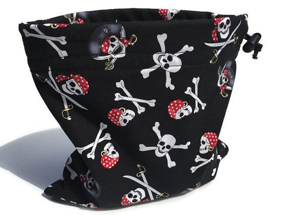 Pirate Loot Bag, Pouch, Drawstring Pet Bag, Pirate Skull Bag, Pirate Garb, Pirate Party Bag, Dog Treat Bag, Small Project Bag, Leash Bag #LootBag #DogPouch #PirateGarb #SkullBag #CraftBags #ChildrensToyBag #PetPouch #DrawstringPetBag #SmallProjectBag #DogTreatBag