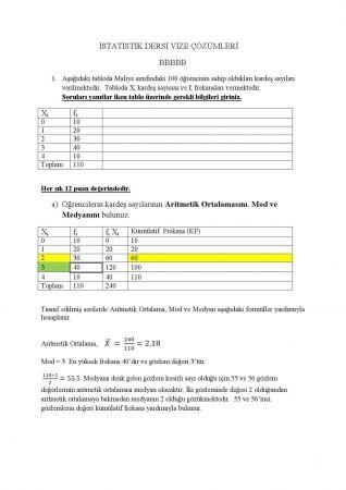 İstatistik Dersi Vize Soruları Ve Çözümleri - B Grubu