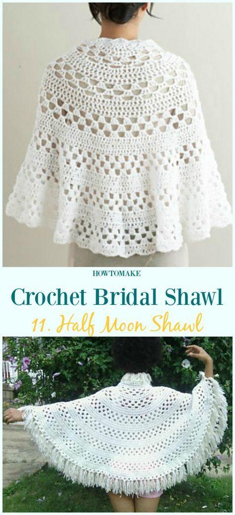 Crochet Bridal Shawl Free Patterns For Wedding Elegance | Scarfs ...