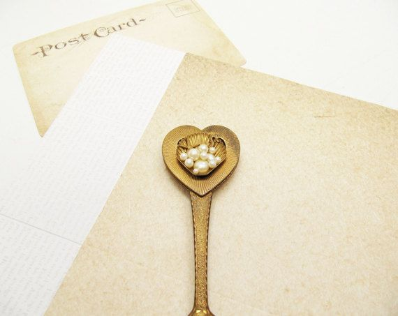 Vintage Gold Heart Letter Opener Gold and Pearl by BygoneAllure