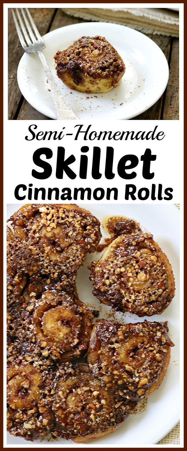 You don't have to make desserts 100% from scratch for that homemade flavor. Save time and make these delicious semi-homemade skillet cinnamon rolls! | cinnamon rolls with pecan glaze, baking, treat,  #easydesserts #homemade #cinnamonroll