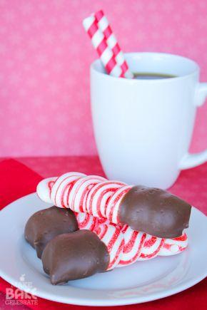 Chocolate dipped peppermint meringues! Super easy yet sooooo yummy!