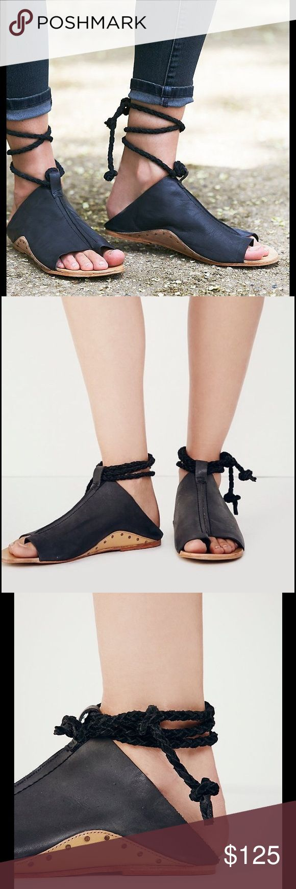 FREE PEOPLE Cherry Valley Leather Sandal, 40 EUR FREE PEOPLE Cherry Valley Leather Sandal. Leather upper, leather sole.  Gray/ Black color with braided suede straps that wrap around Ankle.  EUR size 40; fits US 8.5 to 9.  EUC.  Size 40 is US size 9, but these run small. Free People Shoes Sandals