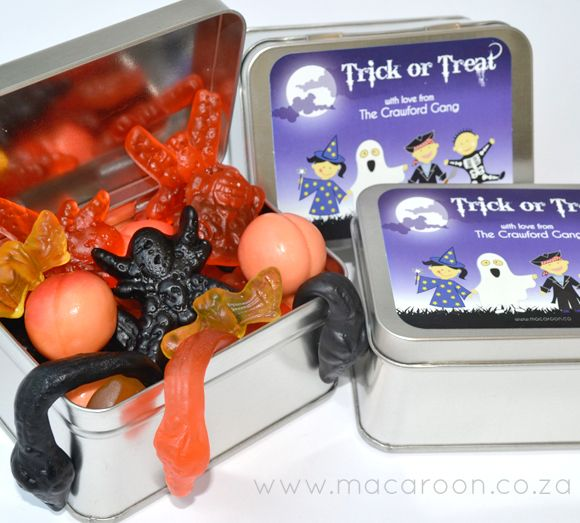 Trick-or-Treat gift ideas - Use small tins or plastic containers, add a Macaroon personalised sticker, and fill with creep-crawly sweets! http://www.macaroon.co/macaroon/content/en/macaroon/halloween