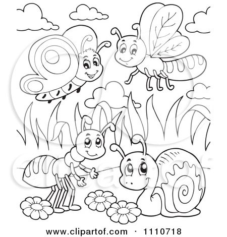 1110718-Clipart-Outlined-Butterfly-Dragonfly-Ant-And-Snail-Royalty-Free-Vector-Illustration.jpg (450×470)