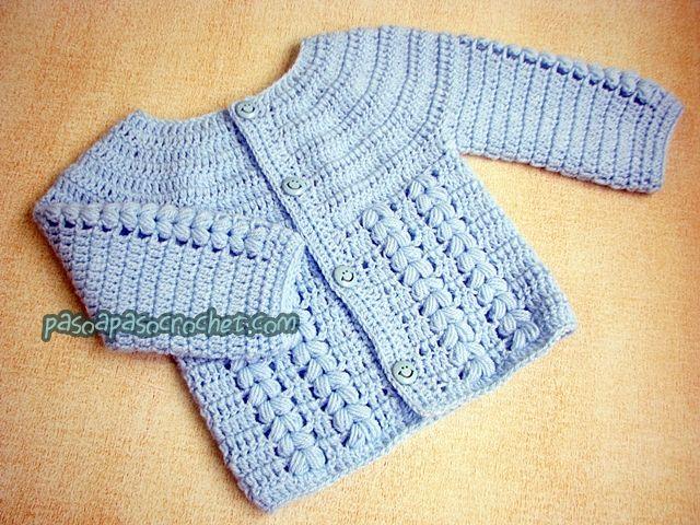 Ajuar bebé: Saquito (talles) – Paso a Paso Crochet