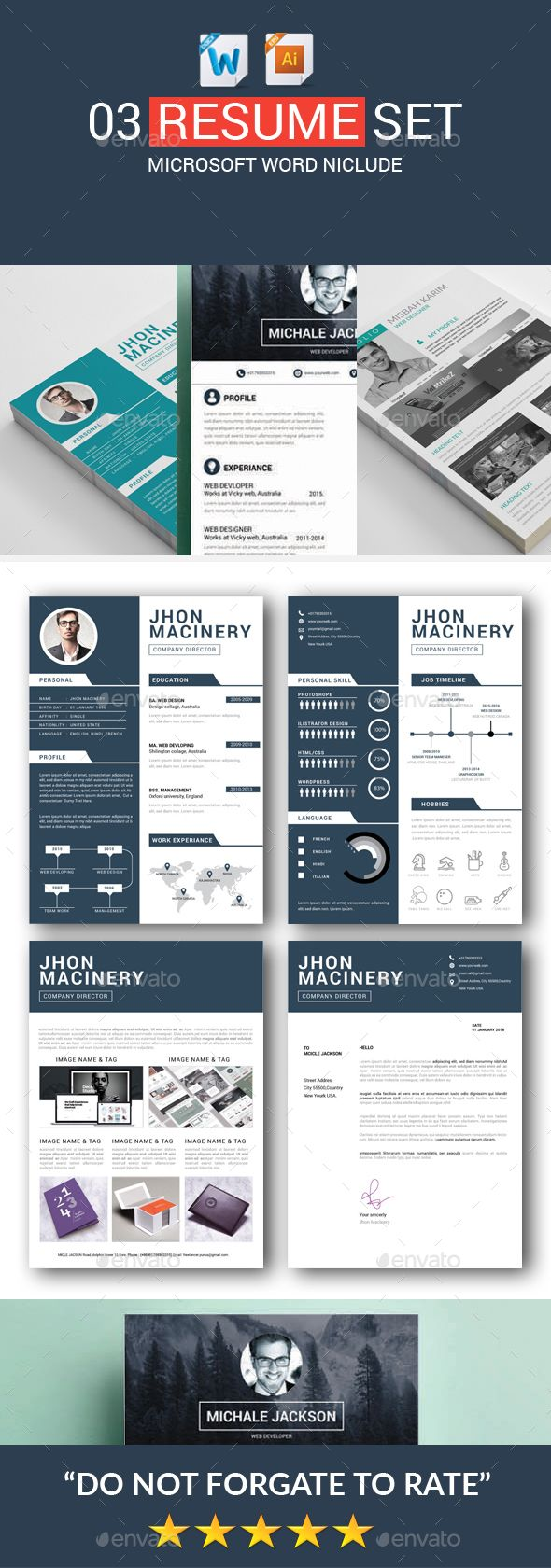 Resume Templates Bundle - PSD, Vector EPS, AI, MS Word