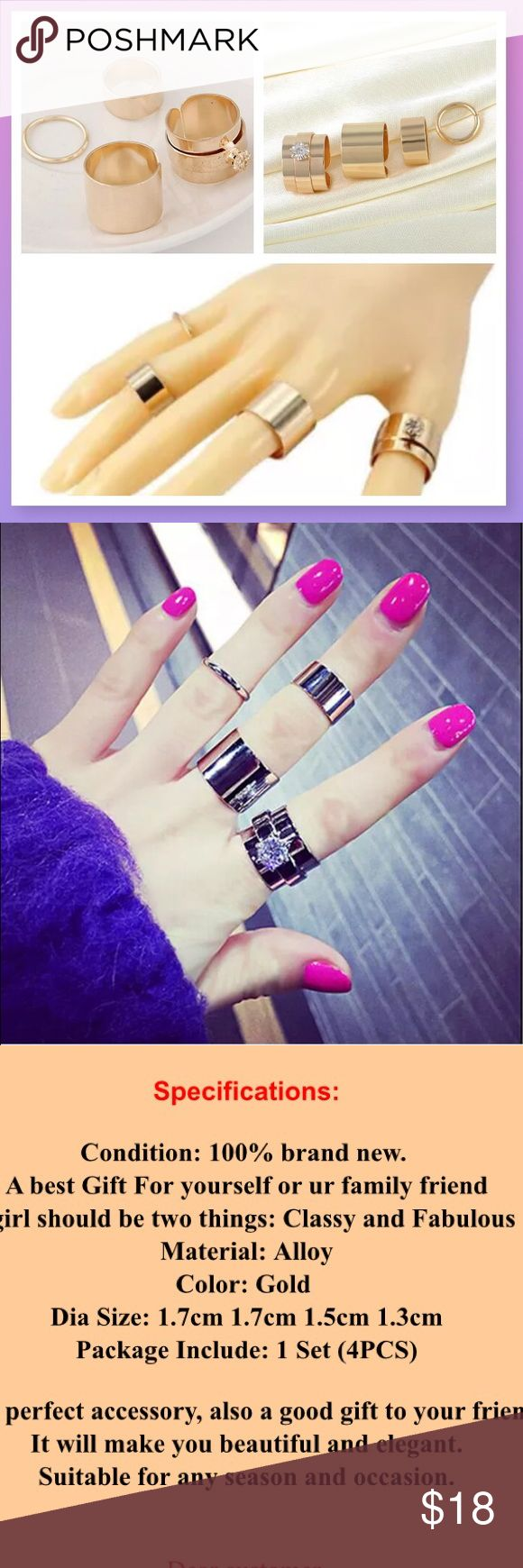 4 piece ring set in Gold, multi sized layer trends Beautiful set (info in picture above!) quality and gift/retail ready. Gold in color. Lovely! Multi-sizes for different fingers. U COUTURE Jewelry Rings