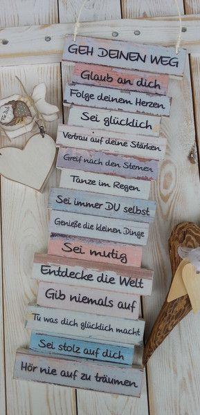 Wanddeko – Dekoschild – Geh Deinen Weg – mit Holzherz – ein Designerstück von Gifts-from-the-heart-by-Sunny bei DaWanda – KiMaPa Das Familienportal