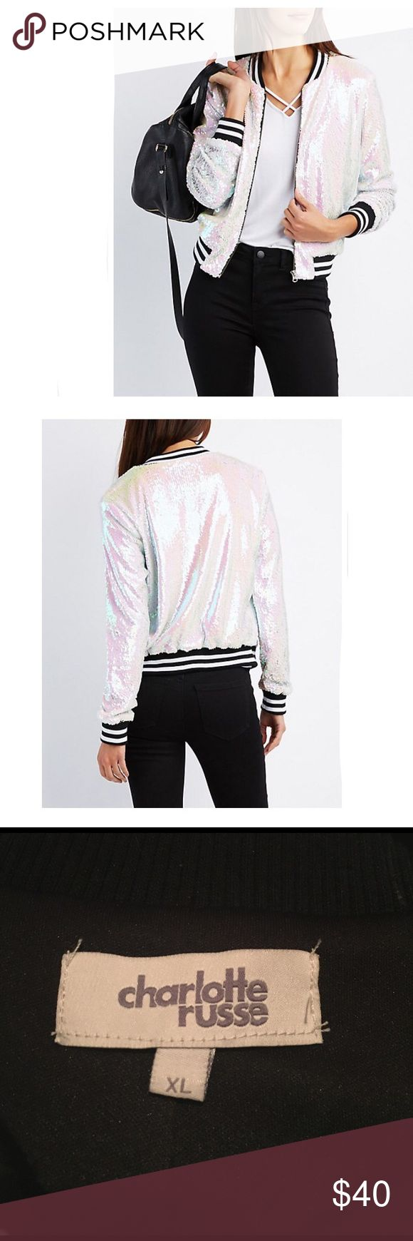 "NWT Charlotte Russe White Sequin Bomber Jacket XL Online only! Bring a little sparkle to your bomber game with this fabulous sequin jacket! Striped ribbed knit trims the collar, cuffs, and hem for a sporty touch, while a metal zipper seals the deal in front.                                   Size XL Fluorescent Sequin colors  Zipper closure at front Fully lined.             Product Model Size: Model is 5'11"" tall Product Fit: Model is wearing size small. Size small measures 20.5"" from top to…"