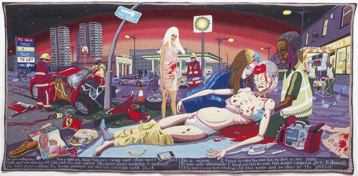 #Ağıt, 2012. Yün, pamuk, akrilik, polyester ve ipek halı, 200x400 cm. British Council Koleksiyonu ve Arts Council Koleksiyonu. Görsel izin, sanatçı ve Victoria Miro, Londra. / #Lamentation, 2012. Wool, cotton, acrylic, polyester and silk tapestry, 200x400 cm. British Council Collection and Arts Council Collection. Image courtesy the Artist and Victoria Miro, London. © Grayson Perry #GraysonPerryTR