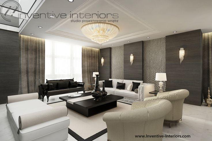 Projekt apartamentu 60m2 Inventive Interiors - klasyczny luksusowy salon