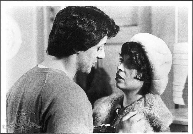 Still of Sylvester Stallone and Talia Shire in Rocky (1976) http://www.movpins.com/dHQwMDc1MTQ4/rocky-(1976)/still-54559744
