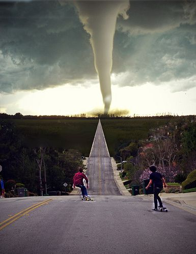 "Oklahoma~ Where, for some crazy reason, we think ""Tornado Warning"" means go outside and see if you can see the twister....and we do it."