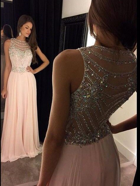 A-Line / Princess Scoop Neck Sleeveless Chiffon Crystal Floor-Length Dresses