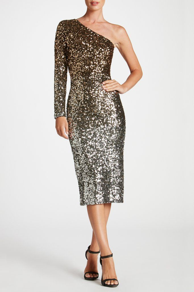 4607d129c1f14d Chrissie One Shoulder Long Sleeve Body Con Midi Ombre Sequin Dress with  Back Slit