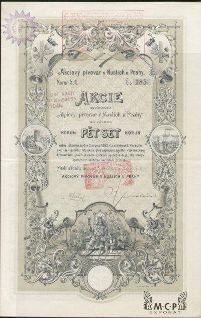 A0032 Muzeum cennych papiru / Akciový pivovar v Nuslích u Prahy, akcie na majitele 500 Kronen  Praha-Nusle 01.01.1898