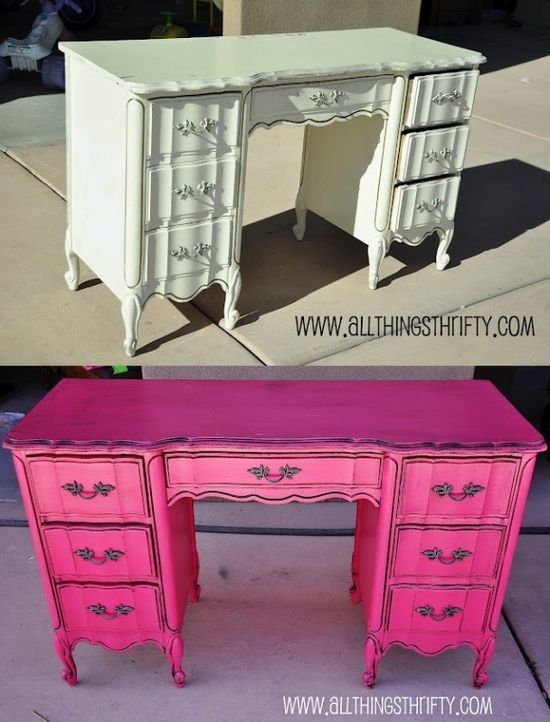 The Chic Technique: Hot Pink desk. Love the desk, but would need different knobs