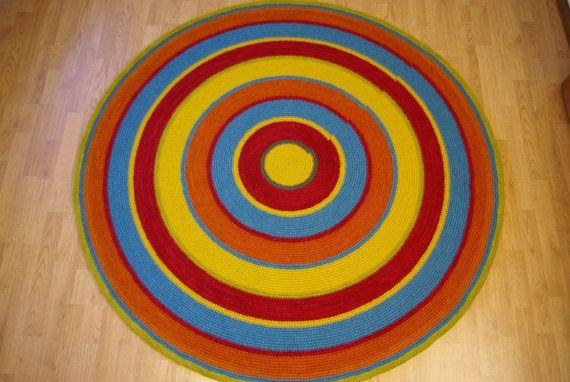 Large crochet round rug 61'' 156 cm by AnuszkaDesign on Etsy, $170.00