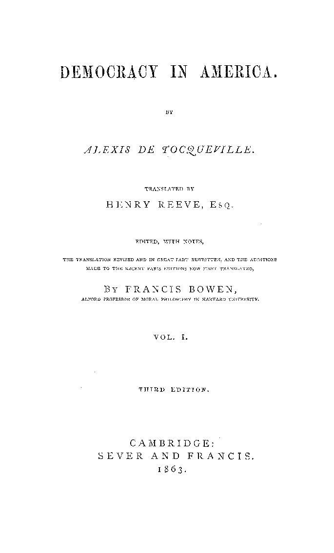 Democracy In America -- Vol. 1 - Alexis De Tocqueville - Google Books