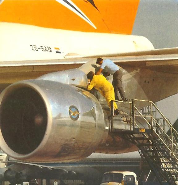 1981 SAA Boeing 747-244B, ZS-SAM, at London Heathrow Airport (LHR). Brochure -- Jorge Carmo https://www.facebook.com/VintageAirliners www.vintageairliners.com