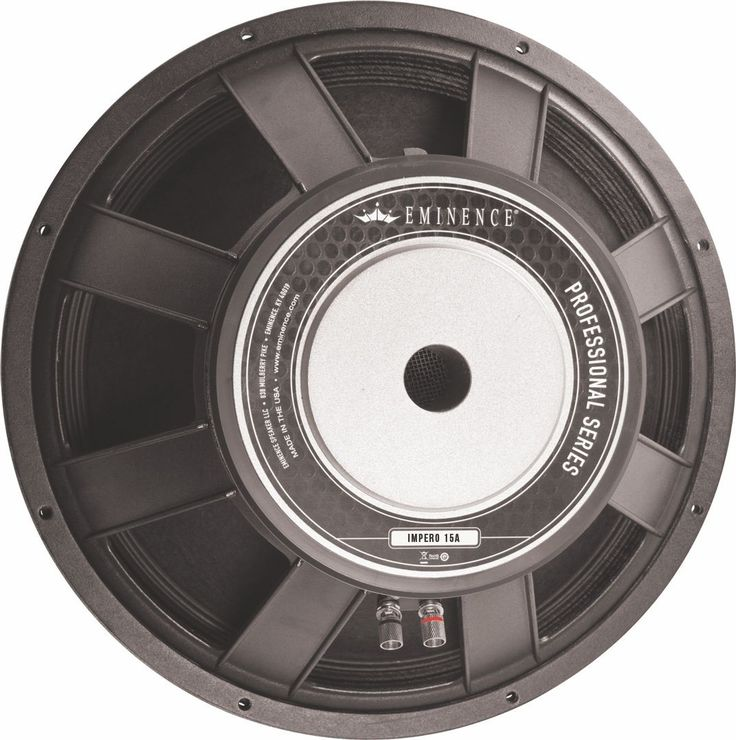 8 Ohms 15-inch High power driver recommended for pro audio in vented enclosures. Suited for two-way top boxes full-range two-way & three-way boxes, bass guitar boxes, & small subwoofers.