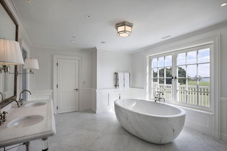 Large Bathroom With Flush Mount Lighting Over Freestanding Tub Also Using Wainscoting : Bathroom Wainscoting Is Decorative And Protect The Walls