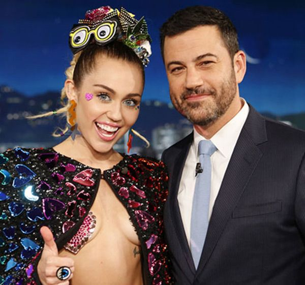 Miley Cyrus talked about her 'tits' and 'nipples' for a good 5 minutes with Jimmy Kimmel on his show and it was kind of amazing. The 2015 VMA host flaunted her boobs wearing only nipple pasties for the interview, which prompted quite the interesting convo!