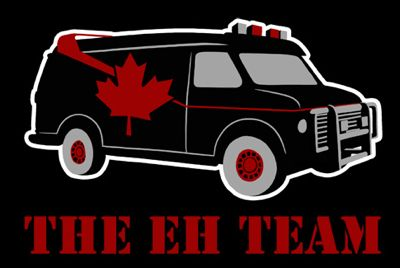 """""""In 1972 a crack hockey team was sent to the penalty box by for high-sticking and decapitating a team mate with their skates. These men promptly escaped from a maximum security moose cave to the Los Angeles underground. Today, still wanted by the Canadian government, they survive as maple syrup smugglers. If you have a pancake, if no one else can help, and if you can find the syrup, maybe you can hire the Eh Team."""""""