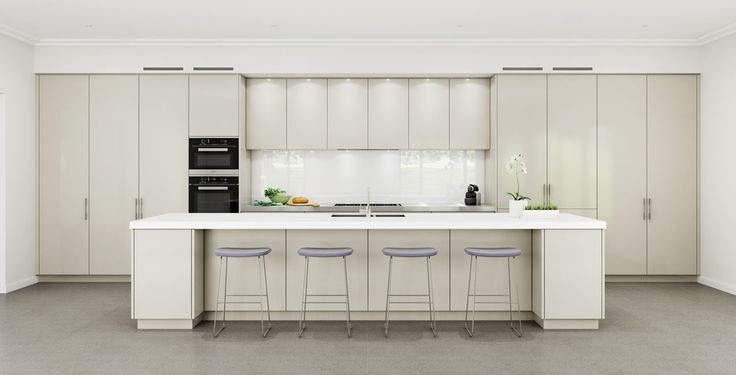 An impressively long kitchen perfect for entertaining.
