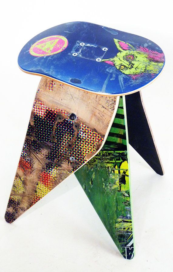 Recycled Skateboard Stool - No.521 by Deckstool. Broken skateboards  furniture. Nice!