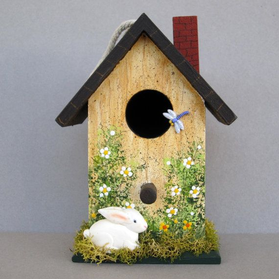 Birdhouse with Bunny by sanquicreations on Etsy, $8.99