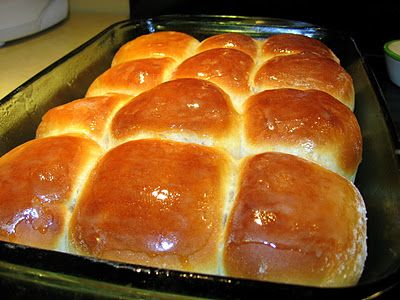 Soft old-fashioned yeast rolls (like from the school cafeteria). Mmm...
