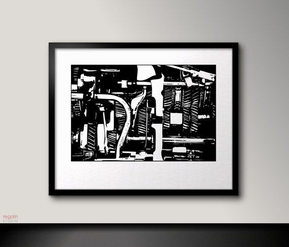 Mechanical art Industrial wall art Black and white by RegainStudio