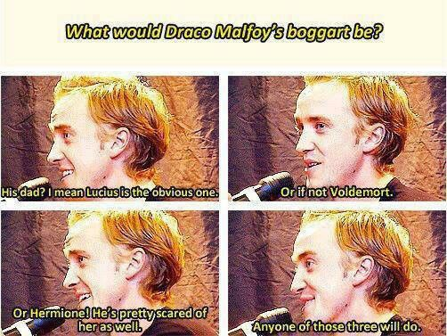 """I think it would be Hermione of those three. She is Muggle-born and that is something Draco misunderstands, can't deal with, and/or gets angry about. He was taught from birth to hate these people but he's also seen the strength of this particular one and it scares him how powerful a """"Mudblood"""" could be."""