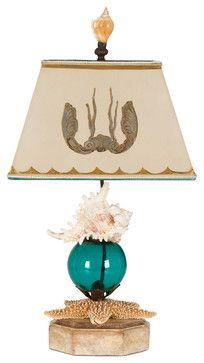 Sea Shell Aqua Table Lamp beach-style-table-lamps