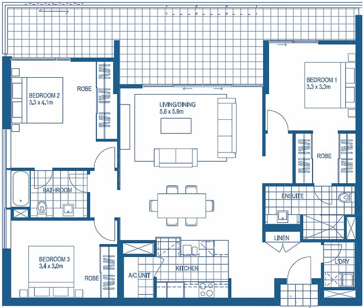 3 bedroom floorplans harbour lights cairns apartment for Three bedroom apartment layout